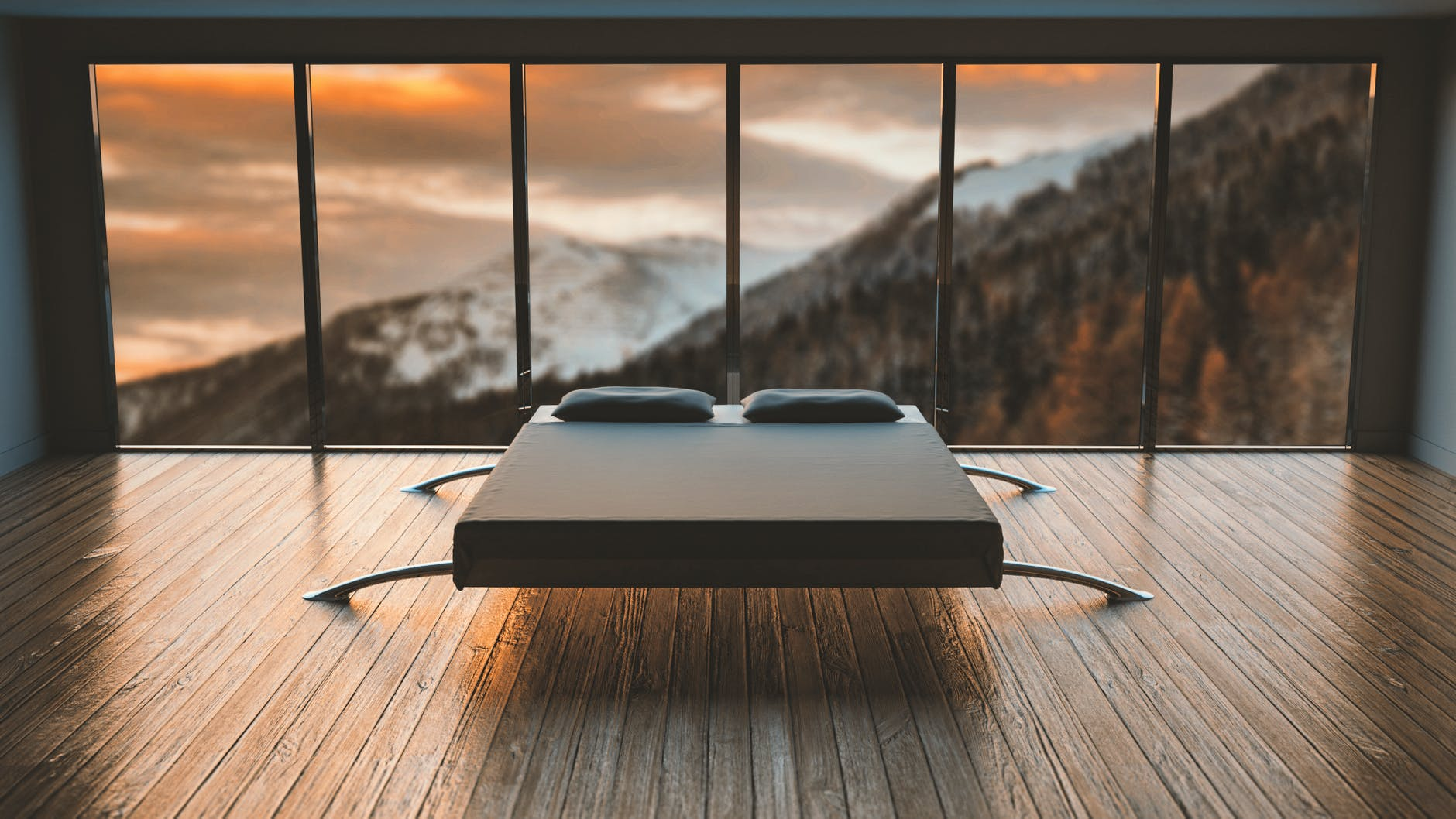 posteľ, okná